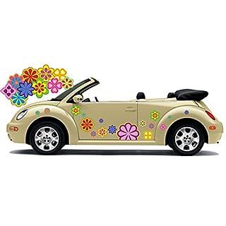 Hippie Blumen Aufkleber, Autoaufkleber Hippie 024 - bunt gemischt (8)