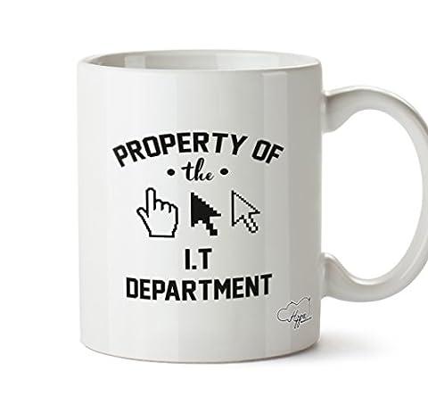 Hippowarehouse Propriété du département de I.t 283,5gram Mug Cup, Céramique, blanc, One Size (10oz)