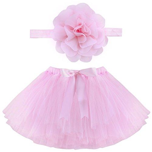 YiZYiF Fotos Fotografie Prop Baby Mädchen Kostüm Süßer Prinzessin Kleid Tüllkleid mit Kopfband Festzug Kleidung (2tlg. Rosa mit Bow) (Festzug Foto)