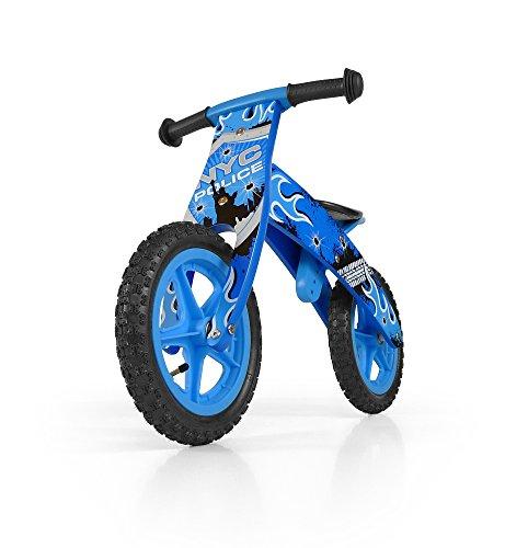 MILLY MALLY 1513 - Bicicleta sin Pedales Madera para niños ,Ruedas DE 12 Pulgadas, Modelo Policía, Azul