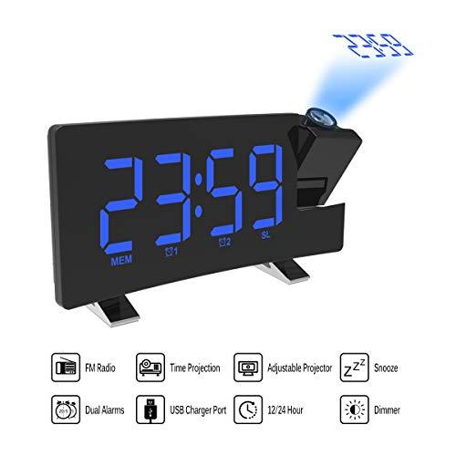 ONEVER Proyector Alarma Reloj de proyección LED con Pantalla Curva Radio Reloj FM Reloj Despertador...