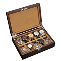 QJIAXING Old Elm Solid Wooden Watch Box Bracelet Watch Jewelry Storage Box Storage Box Display Box with Lock