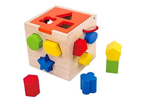 Tooky Toy - Cubo con formas para encajar - Juguete educativo de madera a partir de 12 meses
