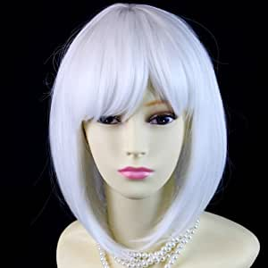 Bob Style Skin Top Pure Snowy White Ladies Wigs with fringe Cosplay Wig by Wiwigs