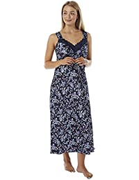 Ladies Long Satin and Lace Broad Shoulder Floral Nightdress Deep Navy Sizes  10 - 28 0e7b7e771