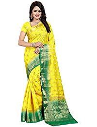 Nirja Creation Women's Lemon Color Cotton silk Heavy Banarasi Saree