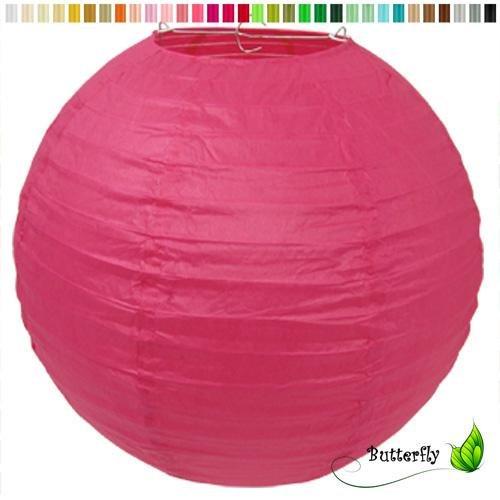 Papier Lampion 25cm ( fuchsia / pink 187 ) // Laterne Hochzeit Party Wohnungsdeko Hängedeko Raumdeko Geburtstag Party Feier
