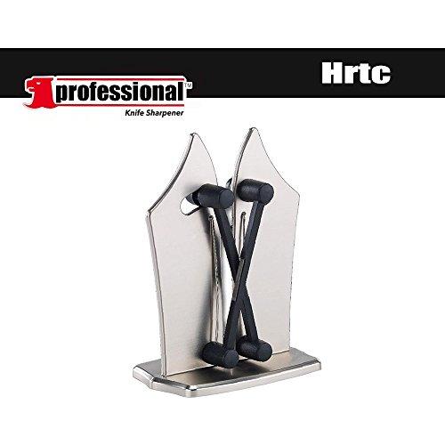 Hrtc Messerschärfer-Profi Küchenmesserschärfer Stahl, der schnellste und beste klassische Messerschärfer mit zwei verstellbaren Schneiden für gezackte und gerade Messer (1) (Klinge Gezahnte Voll)