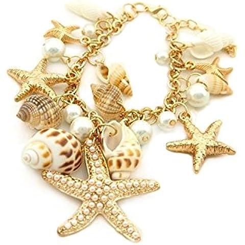 Pulsera - TOOGOO(R)Estilo del oceano Multi estrellas de mar Estrella de mar Caracola marina Concha Perlas Collar Pulsera Pendiente Dorado