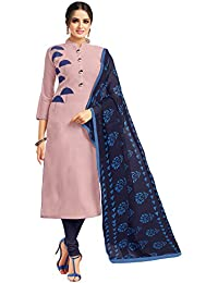 Applecreation Women's Cotton Chanderi Salwar Suits Material (Mauve_Salwar Suit_21DMK635_Free Size)