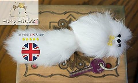 - Frettchen-Schlüsselanhänger, 20cm, mit Kette, Fell, süßes Tierdesign, einzigartiges Geschenk, niedlich, für Taschen, Kirschrot, reines Weiß