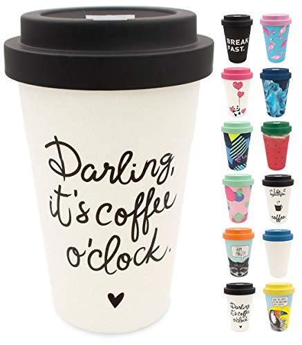 holi. Coffee-to-Go Bambus-Becher mit Schraubdeckel | nachhaltiger Kaffeebecher mit Verschluss | Mehrweg-Becher Bamboo-Cup | Woodcup, lebensmittelecht, spülmaschinenfest (Darling New Black)