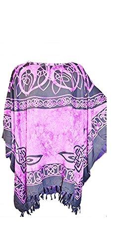 (Cool Kaftans - Römische Tunika Damen Sommer Kaftan Oberteil Poncho Keltisches Shirt Strand Cool - Lila, XXL)