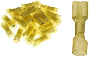 25 Vollisolierte Flachsteckhülsen 6 3 X 0 8 Mit Schrumpfschlauch Gelb 4 0 Bis 6 0 Mm Auto