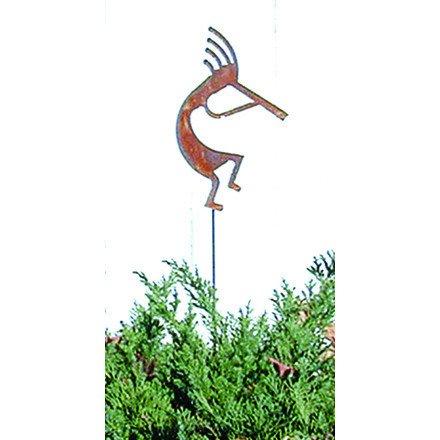 Village Schmiedeeisen 88,9cm Kokopelli Rost Gartenstecker, multicolor, H: 35x W: 6x D: 0,18