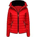 New Ladies Womens Quilted Jacket Puffer Bubble Fur Collar Winter Jacket Coat Top Red S/8