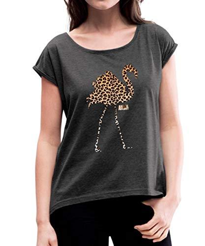 Spreadshirt Animal Planet Leoprint Flamingo Frauen T-Shirt mit gerollten Ärmeln, M (38), Schwarz meliert