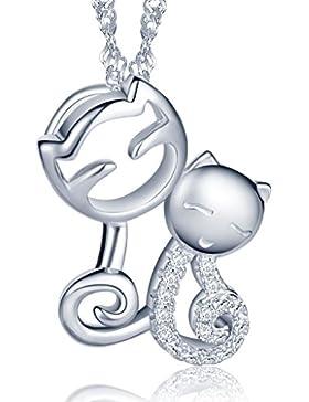 Unendlich U Niedlich Doppel Katzen Kätzchen Herz Damen Halskette 925 Sterling Silber Zirkonia Anhänger Kette mit...