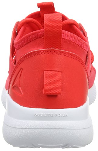 Reebok Cardio Motion, Chaussures de Fitness Femme Rouge (Dayglow Red/White)