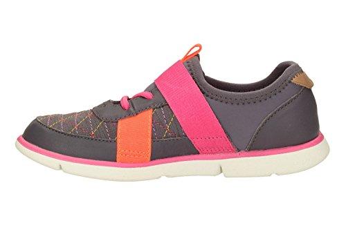 Clarks Tri Mavis Inf ragazze scarpe da ginnastica in pelle antracite Anthracite Leather