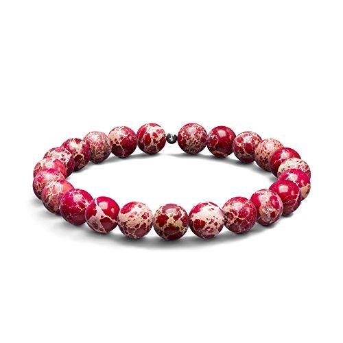 Red Sea Sediment Jasper Armband-Halbedelstein 8mm Perlen & 925Sterling Silber Bead-Stretch Armband für Männer & Frauen, Einzigartige Design & Made in United Kingdom (Red Armband Sea)