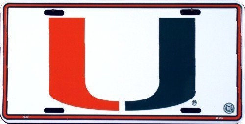 Miami Hurricanes Embossed White Metal License Plate by Hangtime-Kein leichtes Spiel -