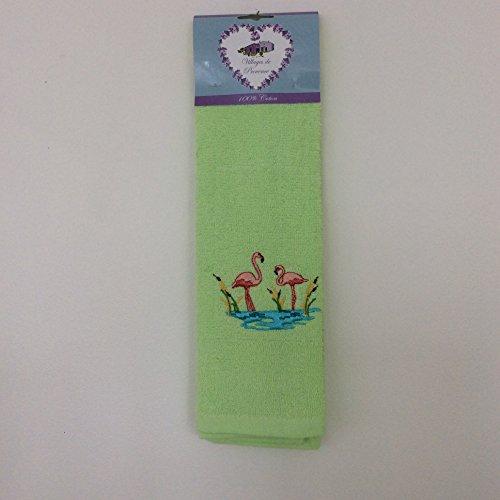 Torchon en éponge 100% Coton uni rectangle 50X70 cm - Flamand Rose - Vert Anis