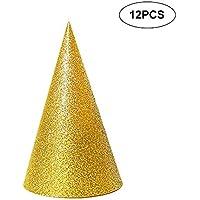 El cumpleaños de los conos 12pcs Glitter Sombreros Sombreros para niños y adultos Suministros Triángulo decoraciones festivas (Oro)