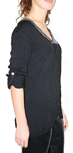 BLUSE Vintage-Look Hemdbluse Mit Pailletten Regular Langarm shirt Jenas