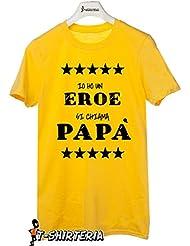 T-Shirteria - Camiseta para día del padre, modelo papa héroe, todas las tallas, unisex amarillo Talla:Medium