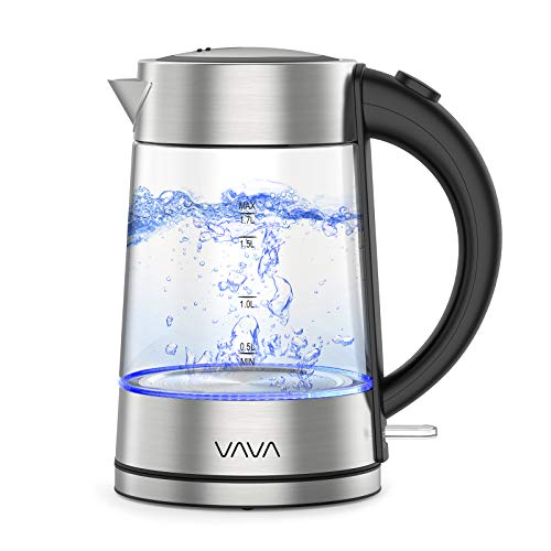 VAVA Glas Wasserkocher mit Edelstahl - Deckel, Schnelles Wasserkochen für Tee und Kaffee, LED-Beleuchtung, Cool-Touch-Griff, Auto-Abschaltung, Trockenlaufschutz, 1,7L, 2200W -