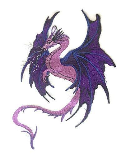 Beyondvision Personalizados Relámpago Púrpura Dragón Bordado Costura Hierro Parches De Color Púrpura, Azul, Negro, Lavanda, Gris