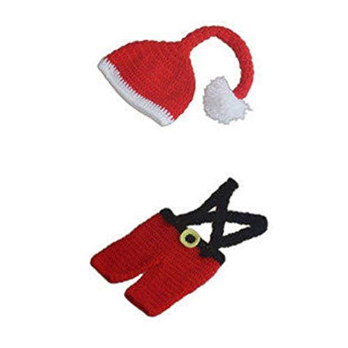 Biback Diuspeed Baby Requisiten Anzug, europäische und amerikanische Kinder Fotografie Kleidung Baby Foto Weihnachten Thema Kostüm rote Garn Weihnachten Kostüm Neugeborenen Fotografie ()
