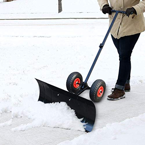 Holaroses Schneeschaufel mit Rädern klappbar & höhenverstellbar Schneeräumen Schneeräumer, Schneeschild von 75 x 45 cm