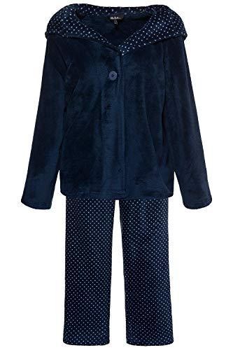 Ulla Popken Femme Grandes Tailles Ensemble de Pyjama imprimé Pois, en Polaire Bleu foncé 48/50 719011 73-46+