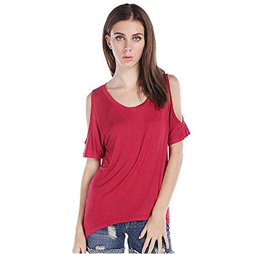 Rcool Frauen Baumwoll V-Ausschnitt aus Schulter T-Shirt Kurzarm Solid Stretch Tops Rot