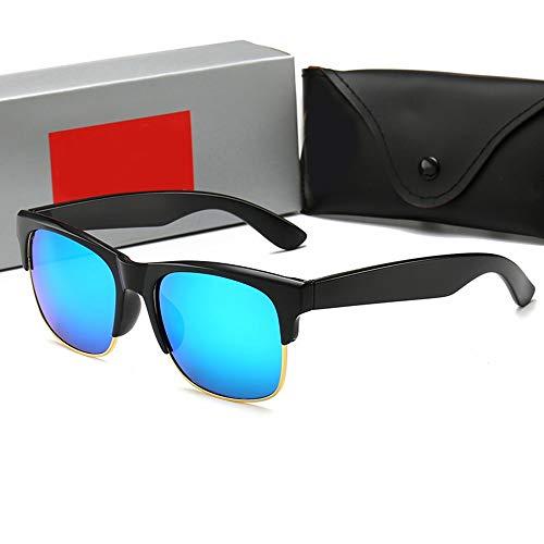 FORTINGBAR Fashion Glass Half Frame Sonnenbrillen, Retro Sonnenbrillen für MenStyle: Fashion, Retro, Classic (Farbe : Blau)