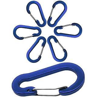 Outdoor Saxx® - 6X Aluminium Karabiner, Clip-Karabiner, für Schlüssel-Ring, Gürtel, Zelt, Kanu, Paracord   5cm, 6er Pack, blau