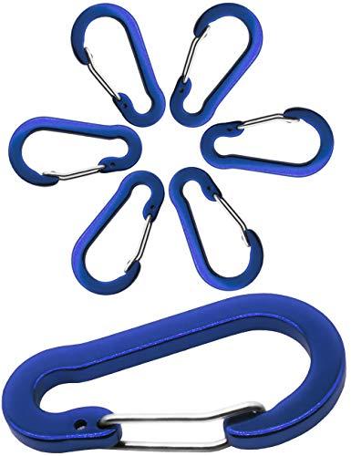 Outdoor Saxx® - 6X Aluminium Karabiner, Clip-Karabiner, für Schlüssel-Ring, Gürtel, Zelt, Kanu, Paracord | 5cm, 6er Pack, blau -