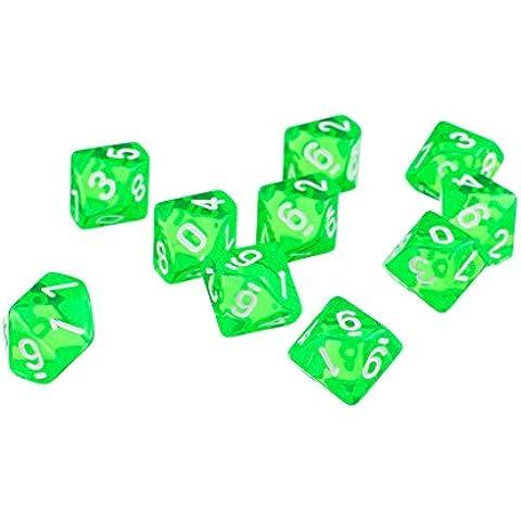 D10 Diez Juegos de Dados Plástico para RPG Dungeons & Dragons Games - Verde