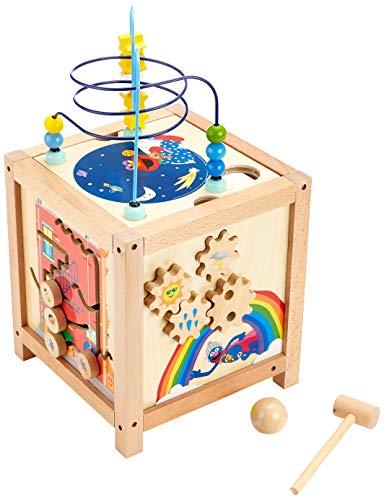 amstrasse Motorikwürfel aus Holz, 100% FSC-Zertifiziert, für multifunktionalen Spielspaß für Kinder ab 18 Monaten Spielzeug, Mehrfarbig ()