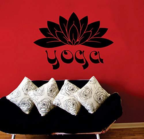 wuyyii 43x32 cm Indische Yoga Wörter Lotus Wandaufkleber Buddha Mandala Vinyl Kunst Aufkleber Für Wohnzimmer