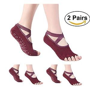 SANIQUEEN.G 2 Paare Rutschfeste Yoga Socken für Damen/Männer Halbzehensocken mit Baumwolle für Pilates, Barre, Ballett, Tanz Größe EU 34-40