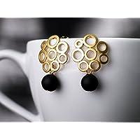 Ohrstecker gold-schwarz: Klassisch-modern, matt-gold – schicke Bubble-Ohrringe mit Onyx, das perfekte Geschenk