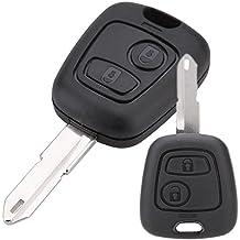 Semoss 2 Botones Llave Carcasa para Peugeot 206 llave Coche Funda Remoto Fob Cover Negro