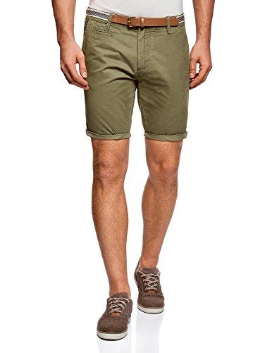 Oodji Ultra Hombre Pantalón Corto de Algodón con Cinturón, Verde, ES 42 / M