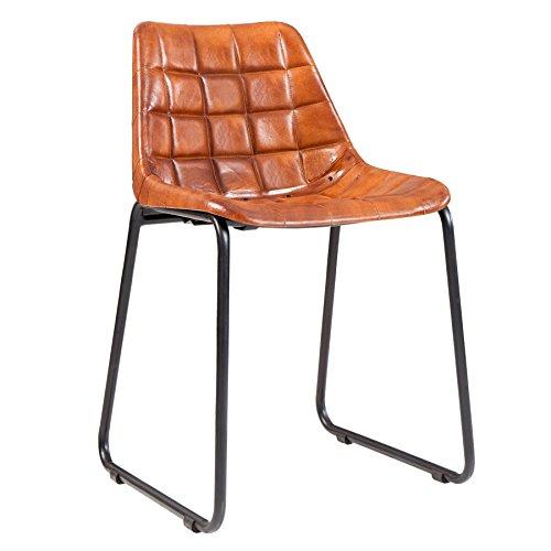 Design Stuhl TAURUS Echtleder braun gesteppt mit Eisengestell Leder Esszimmerstuhl Esszimmer