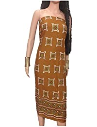 Kurti Material Blouse Fabric Pure Cotton colour fast, Bandhni print, Brown base