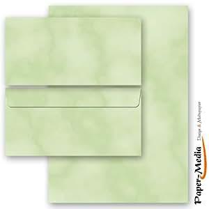 Set complet de 100 pièces MARBRE VERT 50 feuilles de papier à lettres et 50 enveloppes DIN LONG sans fenêtre