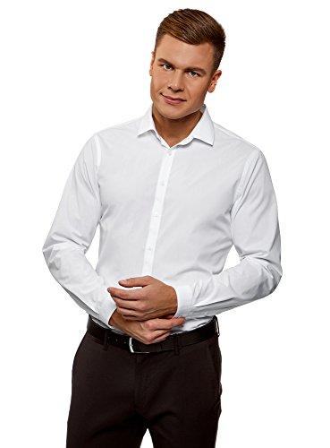 Oodji ultra uomo camicia basic slim fit, bianco, 40cm/it 46/eu 40/s